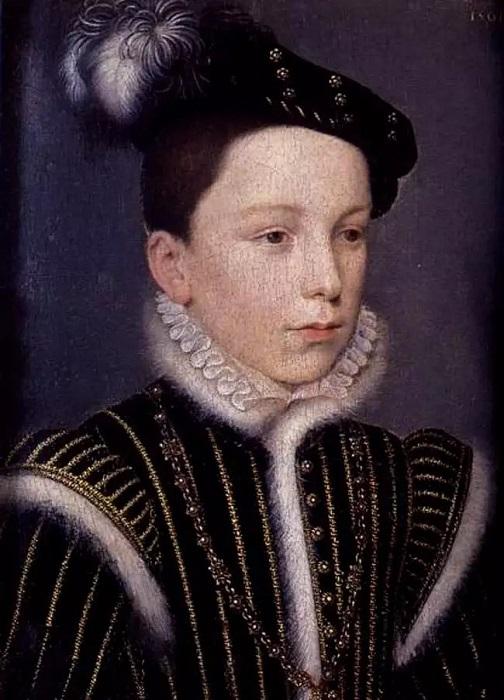 В детстве Генрих был нежным, чувствительным мальчиком. Портрет работы Франсуа Клуэ.